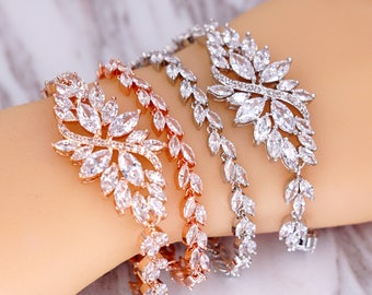 Rose Gold Silver Wedding Bridesmaid Gift Bridal Bracelet Jewelry Set Clear White Cubic Zirconia Marquise Weddings Brides B86 B87