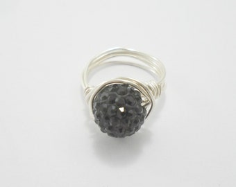 Black Crystal Ring, Crystal Ring, Black Ring, Bling Ring, Crystal Cluster Ring, Crystal Stacking Rings, Sparkly Ring, Silver Rings for women