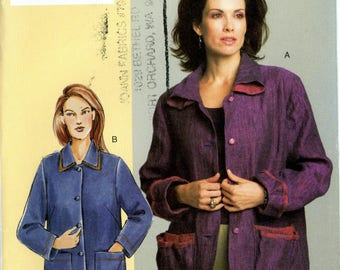 Vogue V7855 Today's Fit Sandra Betzina Jacket Coat Size A B C Bust 32 to 36 Uncut Sewing Pattern 2004