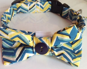 Blue & Yellow Chevron Collar and Bow Tie with Charm  for Dogs or Cats