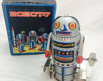 Vintage 1960s Robot-7, Litho Wind Up Tin Toy- Original Illustrated box