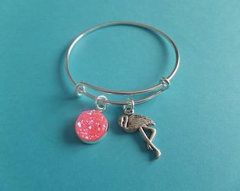 Flamingo bangle, Alice bangle, Wonderland bangle, flamingo bracelet, wonderland gift, alice party favors, wonderland party, xmas stocking,