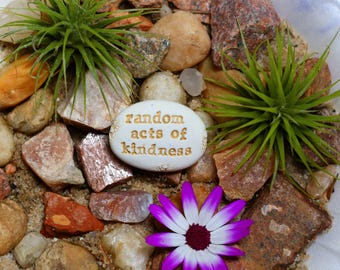 Random acts of kindness word stone | affirmation party favors | art with inspirational words|
