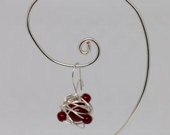 Red bead earrings, silver wire red bead drop earrings (pair)
