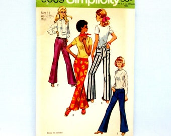 "Simplicity 9069 Ladies' Set of Slim-Cut Hip-Hugger Pants Size 12  Waist 25-1/2"" Hip 36"" Bell Bottoms Zip or Button Fly Vintage Fashion 1970"