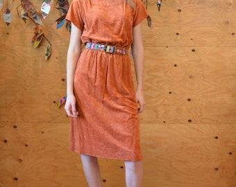 Vintage 70's Peachy Copper Velour Dress Unique One of A Kind Look SZ M