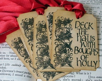 Deck the Halls Christmas Gift Tags/ Vintage Christmas Labels/ Holiday Gift Tags/ SET of 6-Ribbon Choice