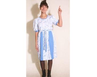 Vintage 1990s Blue Rose Princess Sleeve Pleated Heidi Dress size M