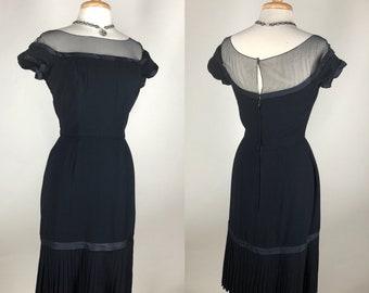 Chic! VTG 1950s Peggy Hunt Classic Navy Wiggle Dress Illusion Accordion Pleat Hem