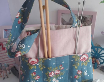 Handmade cotton and floral fabric knitting, crochet or project bag