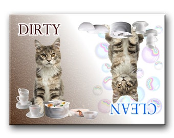 Maine Coon Cat Clean Dirty Dishwasher Magnet No 4
