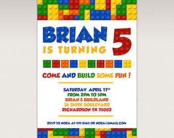 Building Brick Blocks Birthday Party printable invitation - Birthday Party Invitation #470