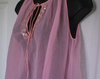 PINK CHIFFON And Sequins babydoll Peignoir Set 2 Pieces