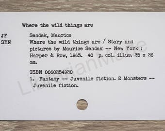Library catalog card : Where the Wild Things Are by Maurice Sendak