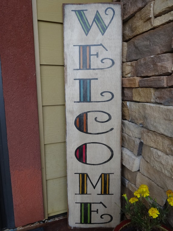 Welcome Sign Hand Painted Wood Sign Front Door Sign