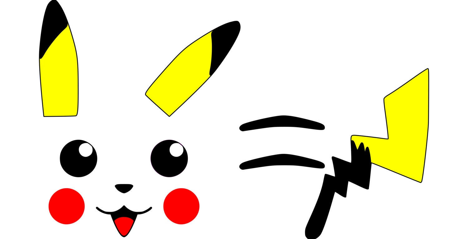Pikachu face ears back stripes tail pokemon svg file zoom pronofoot35fo Image collections