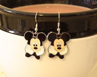 Mickey Mouse Enamel Charm Earrings - cartoon mouse Earrings - Girls Jewelry - Dress Up earrings