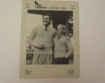 Vintage (1940s), Patons knitting pattern book No 368, menswear