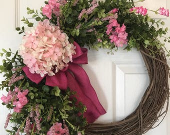 SUMMER WREATH,Year Round Wreath, Spring Wreath, Wreath,Grapevine Wreath, Farmhouse Wreath ,Front Door Wreath,Boxwood Wreath,Hydrangea Wreath