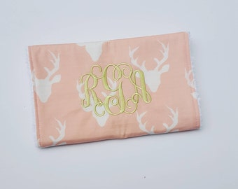 Personalized Pink Deer Burp Cloth - Woodland Baby Girl, Personalized Baby Gift, Burpcloth For Girls, Burp Rag, Baby Girl, Baby Shower Gift