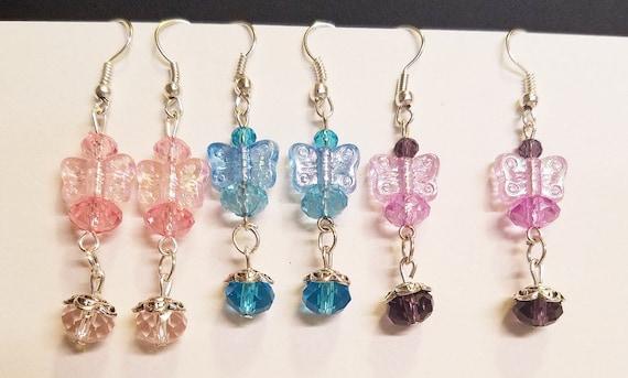 3 pr butterfly drop earrings dangles earrings lot wholesale jewelry lot butterfly jewelry bead drop earrings pink blue purple handmade