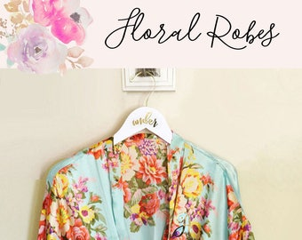 Floral Bridesmaid Robes Set of 7, Set of 5, etc - You Choose Qty - Floral Bridesmaid Robe Personalization - Floral Bridesmaid Gift (EB3152)