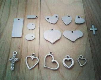 Hand stamped custom stainless steel tag or shape charms- small/medium