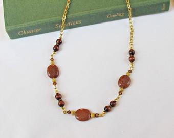 Brown Gemstone Necklace - Swarovski Crystal Tiger's Eye Goldstone - Jewellery Jewelry For Women Copper Gold