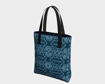 Indigo Armor tote bag, handbag, overnight bag, travel bag, knitting bag, carry-all, purse