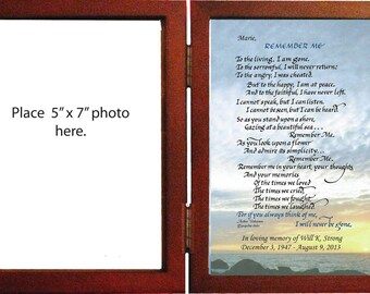 Personalized Memorial Sympathy gift hinged frame with mat for photo