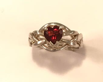 Ladies Gold or Sterling Silver 4 Band Puzzle Ring set with Garnet Heart