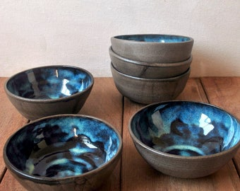 Blue Ceramic Bowls, Set of 6 Stoneware Bowls, Gift for Foodie, Pottery Bowls, Ceramic Dinnerware, Fruit Salad Bowl, Gift for Newlyweds