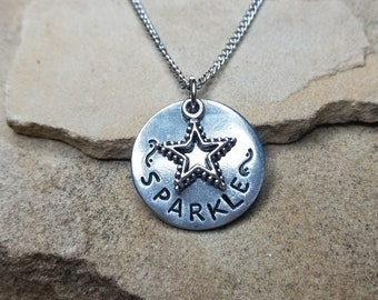 Sparkle- Pewter Pebble Hand Stamped Necklace With Star Charm