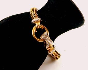 Clamper Clasp Gold and Silver Tone Avon Bangle Bracelet Vintage 1980 Bangle 7 Inch Long Bracelet Marcasites Clamper Closure