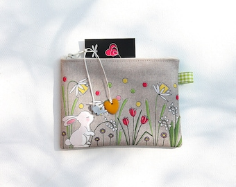 Wallet in natural linen illustrated little white rabbit