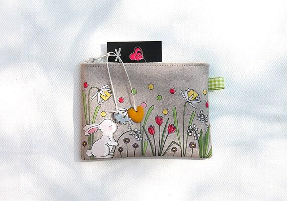 Wallet in natural linen illustrated little white rabbit