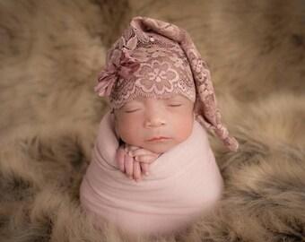 Newborn Mauve Lace Bow Sleep Cap, Baby girl, sleepy cap, stocking cap, photography prop, ready to ship, mauve, bow, lace
