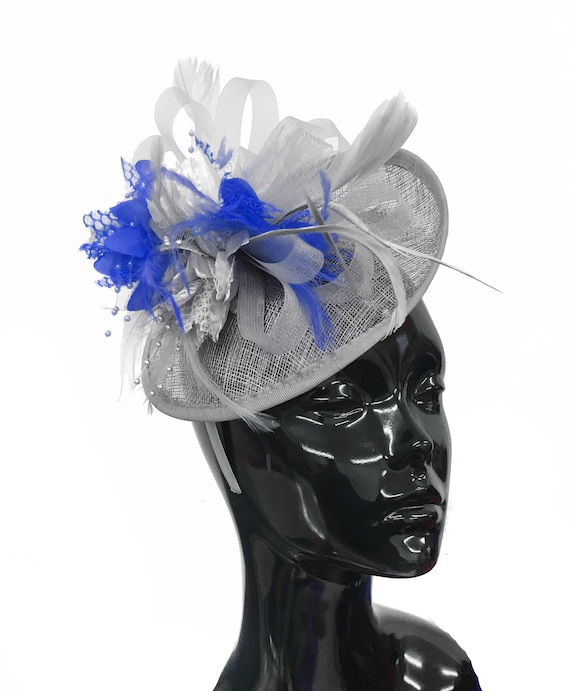 1524bf12fb51f Grey Silver and Royal Blue Sinamay Disc Saucer Fascinator Hat