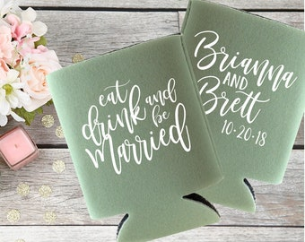 Wedding Can Coolers | Eat Drink and be Married | Wedding Can Coolies | Save the Date Props | Save the Date Wedding Invites