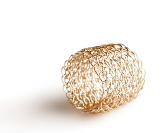 Crocheted gold filled wire band ring  custom - simple and chic
