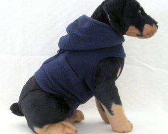 Navy Blue Fleece Dog Hoodie Vest Harness Clothes XSMALL