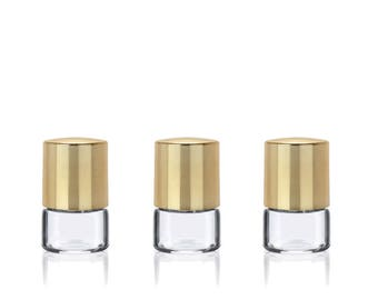 24 ELEGANT CLEAR 1/2 Dram Glass Vials with GOLD Metal Overshell Caps 2ml Serum Essential Oil, Aromatherapy Mini Bottle, Sampling