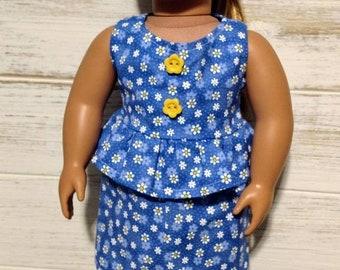 """18"""" doll peplum dress"""