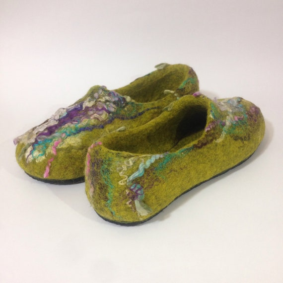 Green slippers slippers model Ready soles US 8 Woman's purple 5 house Boho ship Felted Rubber wool Original to shoes clogs new zYqwYS0