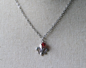 Fleur de Lis Necklace with Red Crystal, Outlander Inspired Jewelry, France