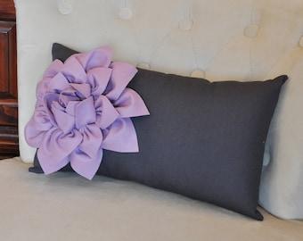 Charcoal Lumbar Pillow Lilac Dahila on Dark Gray Lumbar Pillow 9 x 16
