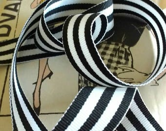 Black and White Striped Ribbon, Striped Grosgrain Ribbon 7/8""