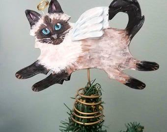 Himalayan Cat Angel Tree Topper - Cat Tree Topper - Mini Tree Topper - Christmas Tree Topper - Topiary Topper - Cat Theme Tree