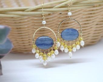 Kyanite Pearl Dangle Chandelier Earrings,Semi-circle earrings,Statement earrings,wire wrapped,Boho,Mother's day gift