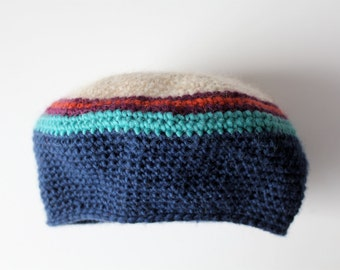 oatmeal and blue wool hat beret with stripes
